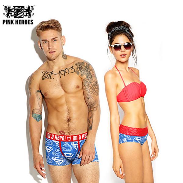Pink Heroes Couple Panties Underwear Hot Brand Men Boxers Women Lingerie Homme Cuecas Cotton Sexy Male Lady Lace Underpants 1250/603
