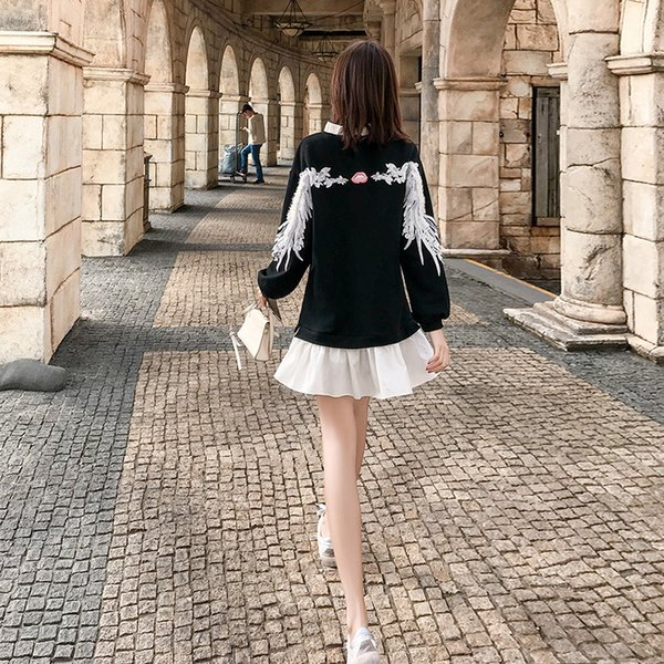 Red Wind 2019 Spring New Pattern Women's Clothes Black False Two Piece Dress Female Korean Edition Lotus Leaf Edge Short Skirt 1001
