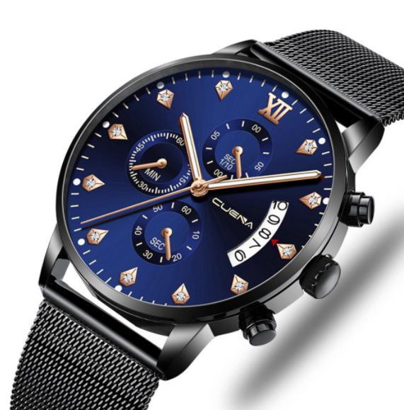 2019 Orologio da uomo automatico multifunzionale degli orologi del vento del progettista dell'orologio automatico del cinturino dell'orologio di affari del Mens