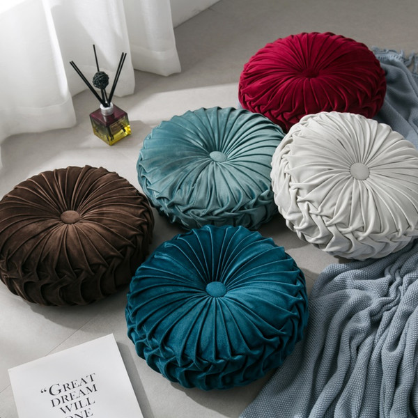 Velvet Pleated Round Pumpkin Throw Pillow Couch Cushion Floor Pillow Decorative For Home Chair Bed Car