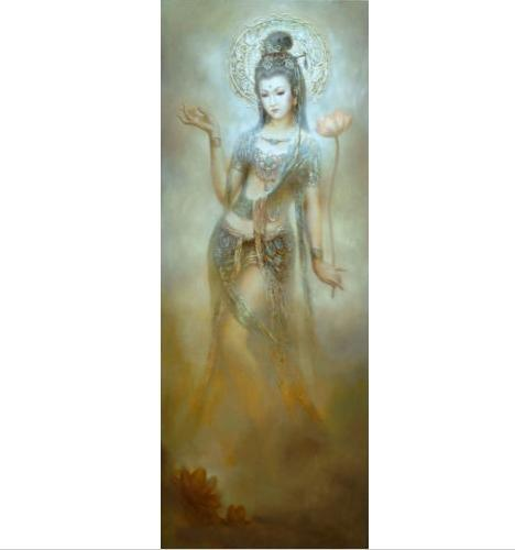 Chinese Gansu Dunhuang flying holding lotus flower Handpainted & HD Printed oil painting,Wall Art On High Quality Canvas Multi Sizes P158