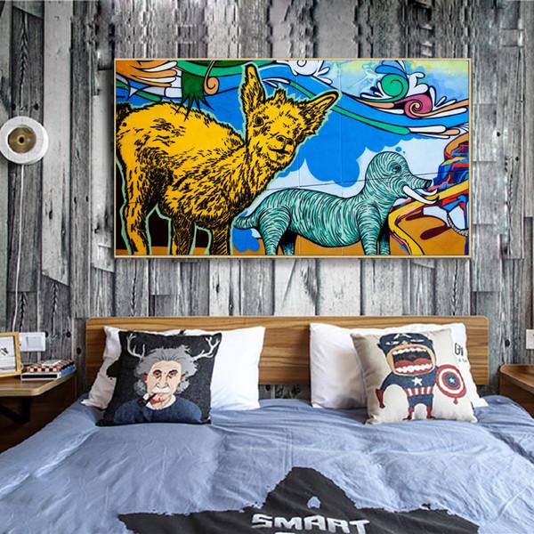 Adorável Animais dos desenhos animados Banksy Graffiti Pinturas Pôsteres Tela Kids Room Wall Decor Wall Art Pictures Moda Pôsteres Prints