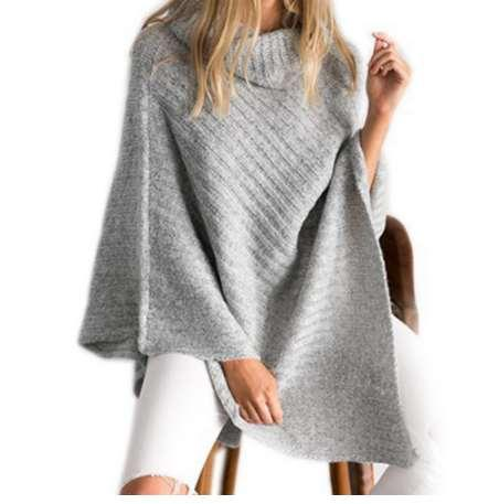 New Fashion Design Style Scarf Women High Collar Poncho For Female Cotton Knitted Scraves Irregular Warm Winter Shawl Capes