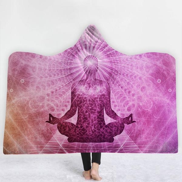13 Estilos Índia Religião Mandala Budismo 3D Impresso De Pelúcia Com Capuz Cobertor para Camas Quentes Wearable Lã Macia Lance Cobertores