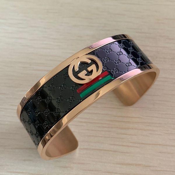 best selling Deluxe high quality girls 316 Titanium Steel 18K rose gold black wide love letter wedding bangles bracelets for men women free shipping