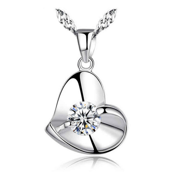 Heart Shape Women Sterling Silver Pendant Necklace White Gold Color 45cm Chain