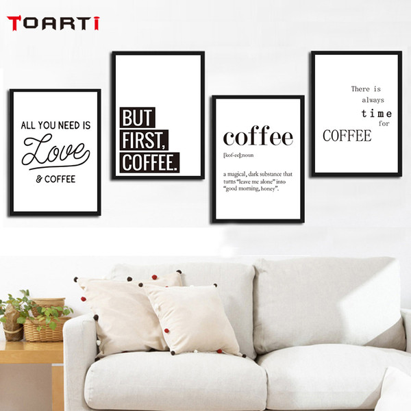 Creative Coffee Life Quote Wall Art Black&White Prints Canvas Painting Nordic Modern Vintage Poster Living Room Home Decor Mural