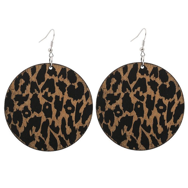 Qiaohe 1 пара хорошее качество деревянные серьги африканская женщина деревянные Бринко круглый леопардовый кулон 6 см / 2.36