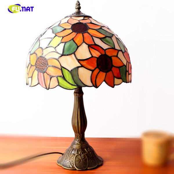 FUAMT Stained Glass Table Lamps Vintage Sunflower Desk Lamp Living Room Bedside Lamp Brushed Nickel Glass Lamp Light Fixtrues