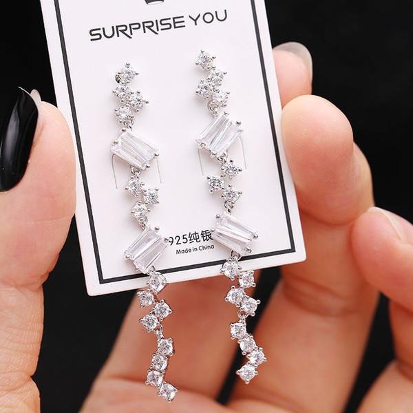 2019 Korean version of zircon long earrings female simple wild temperament elegant silver needle earrings fashion personality earrings