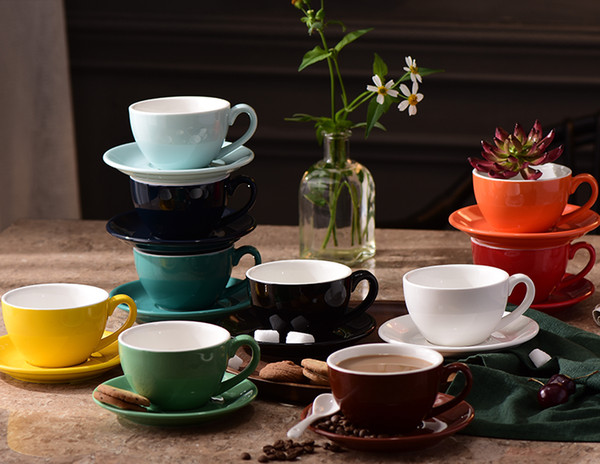 220ml Porcelain Cappuccino Cups with Saucers for Specialty Coffee Drinks, Latte, Cafe Mocha and Tea Cold Assorted colors