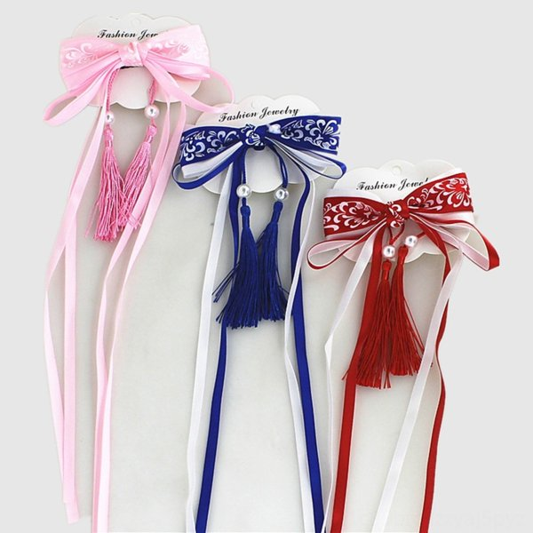 top popular Children's Chinese costume Clothing Flower headdress chinese style girl's tassel hairpin side clip antique bow ribbon floral headdress hair 2021