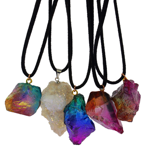 Natural seven-color raw stone crystal pendant DIY transparent multicolor gem leather rope pendant necklace