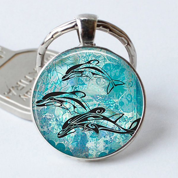 new necklace Retro Gothic Sea Turtles Pendant, Sea Turtle Keychain, Turtle Keyring, Turtle Glass Dome Jewelry, Metal Key Chain Key Ring