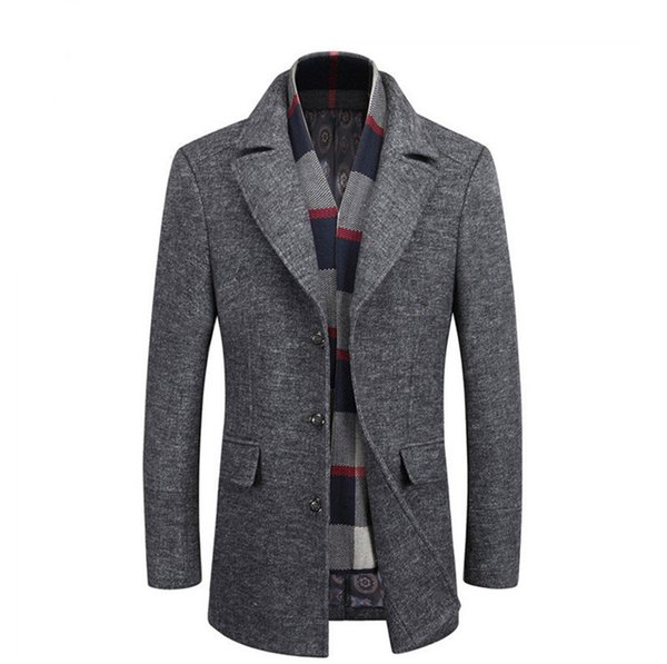 winter mens patchwork casual coats designer lapel neck long sleeve outerwear middleaged and elder button coats