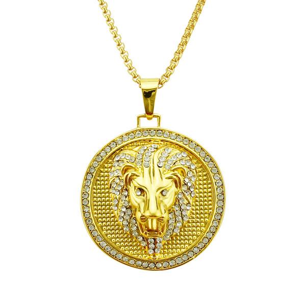 Collana con testa di leone di marca tonda hip-hop europea e americana, stile europeo e americano