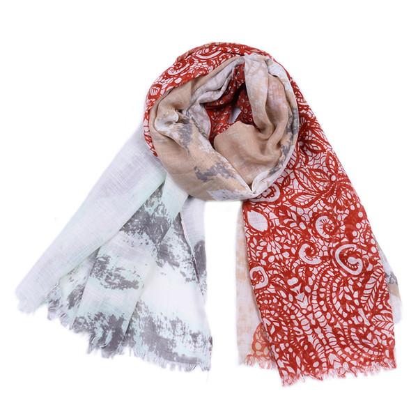 Women New Cotton Gradient Leaf Print Scarves Shawls 2019 Long Vintage Flower Fringe Wrap Scarf Hijab Foulard 6 Color Hot Sale Free Shipping