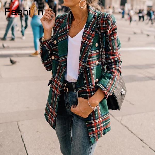 Vintage Zweireiher Mäntel ausgefranst Karierte Tweed Blazer Mantel Frauen Taschen Blazer Plaid Damen Oberbekleidung Casual Casaco Femme
