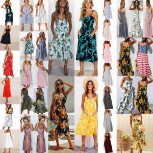 Boho Floral Sleeveless Midi Dresses 33 Styles Women Print Summer V Neck Pockets Pleated Backless Button Dresses 35pcs LJJO6295