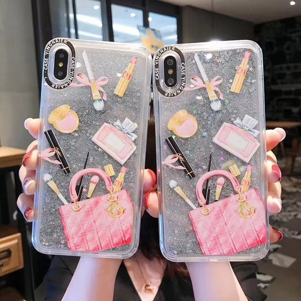 Dynamic liquid Cosmetic Quicksand Cover Case For iPhone XS Max XR 6S 7 8 Plus 6 Lipstick Perfume Bottle Capa Phone case ipone X