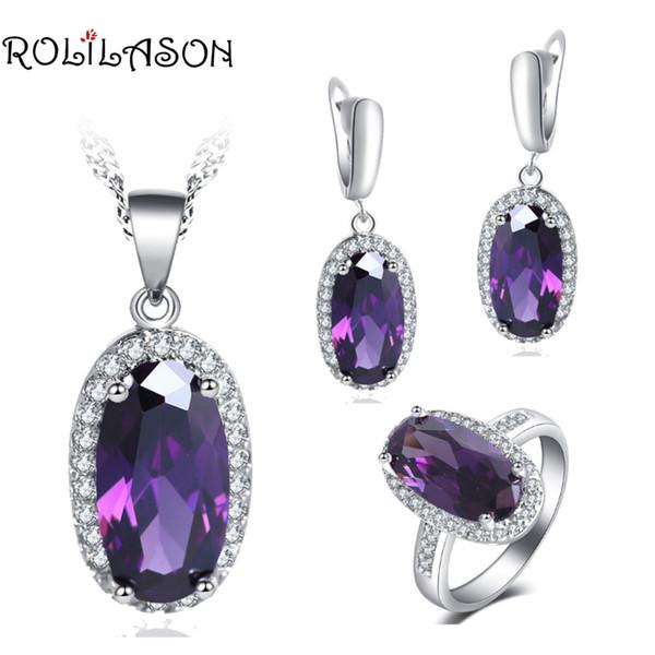 ROLILASON Luxury Design élégant forme ovale Set pour fille Zircon violet 925 collier en argent Boucles d'oreilles Bagues Parures JS757