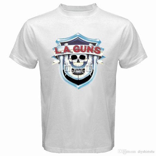 Neue LA Guns Hard Rock Band Logo Männer Weißes T-Shirt Größe S-3XL T-Shirt Männer Jungen Top Design Weiß Kurzarm Benutzerdefinierte Große Größe Männer