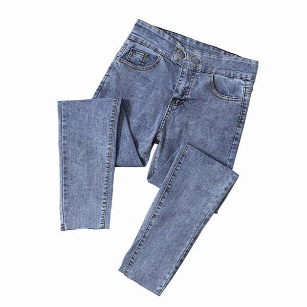 2019 Spring and Summer New Fashion Solid Jeans for Women Stretch Slim Pencil Pants High Waist Jean Femme Plus Size Jeans Mujer