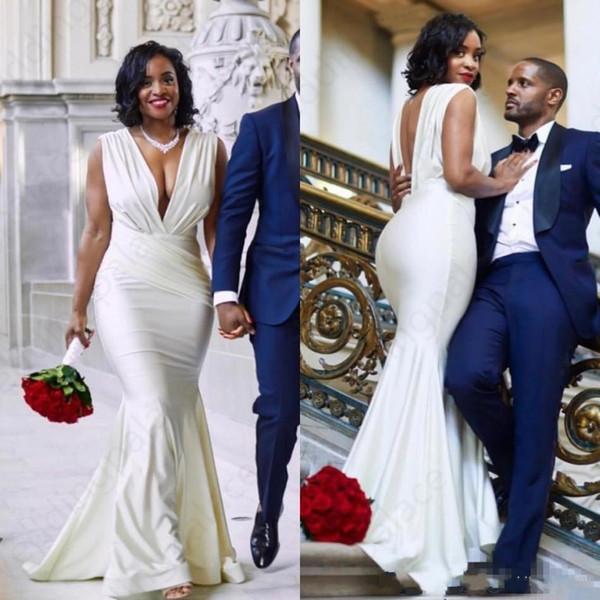 top popular 2019 Mondern Sexy Design Mermaid Wedding Dress Sexy Black Girl Backless Deep V Neck Pleats Floor Length Long Bridal Gowns Custom Plus Size 2019