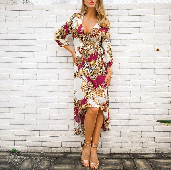 Vestidos de mujer vestidos impresos 2019 Nueva llegada primavera vestido de las mujeres Impresión de lujo de las mujeres Moda Casual Vestidos Ropa femenina Tamaño S-XL
