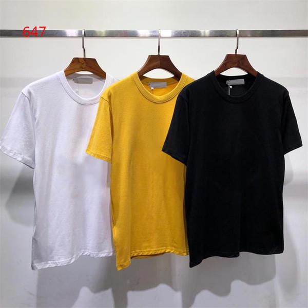 2019 dos homens Quentes Em Torno Do Pescoço de Manga Curta Tee Hip Hop Moletons Compass Preto Branco Amarelo Impresso T-shirt Dos Homens Ilha M-2XL 647