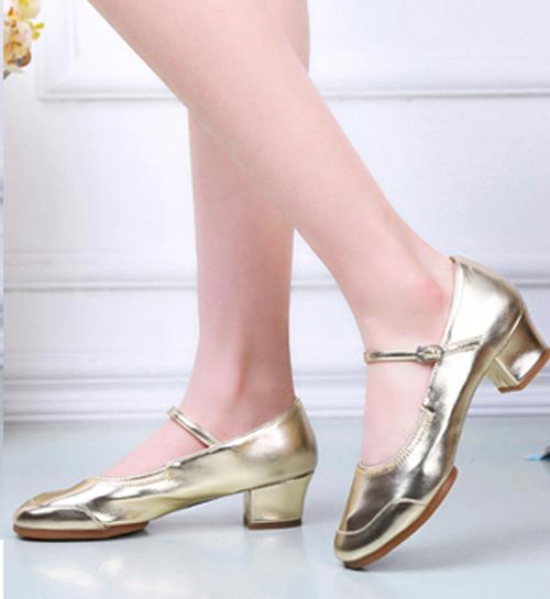 73c86b9d544c Dress Shoes Silver Mary Janes for women ankle strap block heel shallow round  toe Latin Jazz dancing wedding dress pumps