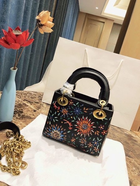 Fashion luxury leather handbag metal chain metal accessories official website 1:1 copy Mini lady Shoulder bag full set of box packaging