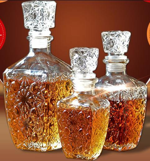 Whiskey Liquor Wine Drinks Decanter Glass Crystal Bottle Wine Carafe Gift Clear Cap 250ML 500ML 1PC