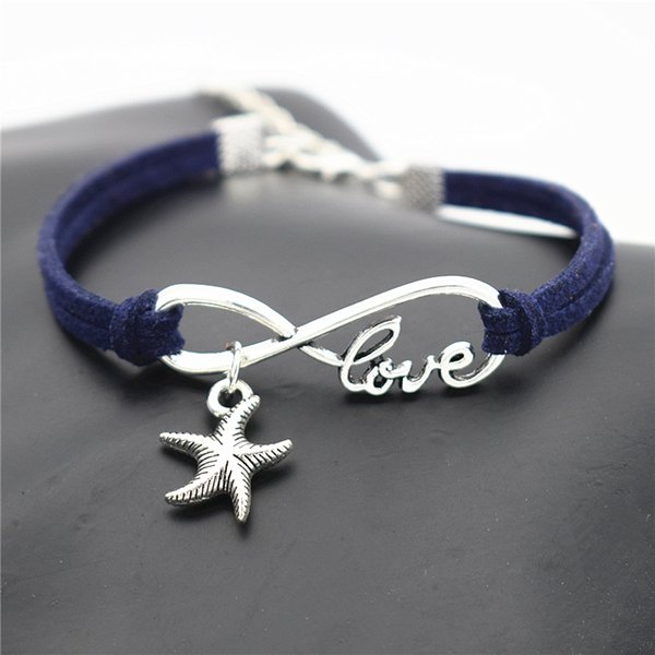 Dark Navy Leather Suede Wrap Bracelet & Bangle Infinity Love Sea Star Starfish Pendant Accessories for Blessing Women Men Lucky Jewelry Gift
