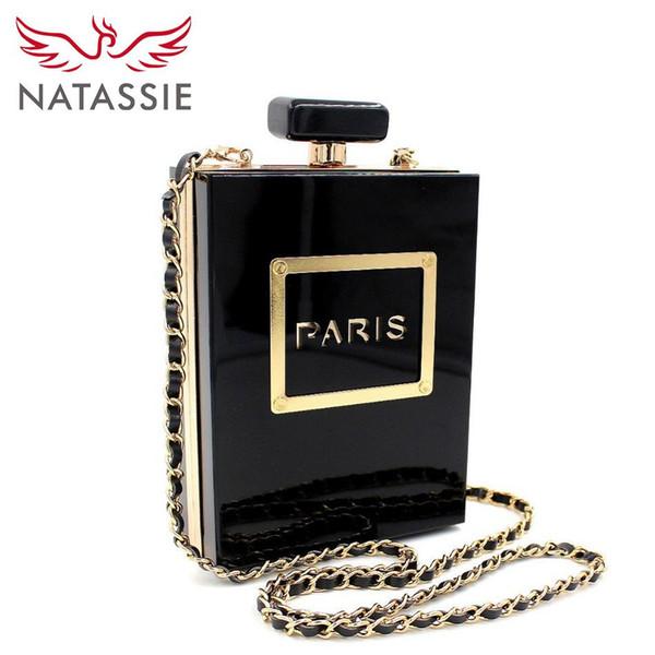 NATASSIE Femmes Pochettes Acrylique Embrayages Fashion Party Bags Dames Designer Flacons De Parfum Forme Bourses