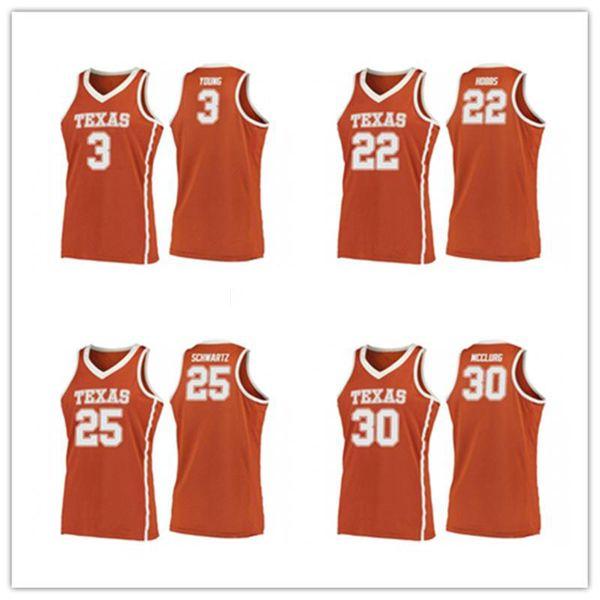 2019 Техасский колледж лонгхорнов # 22 Исаия Хоббс # 25 Джо Шварц # 3 Джейкоб Янг # 30 Райан МакКлург Баскетбол Джерси Сшитое имя нестандартного номера
