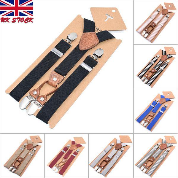 Boy Girl Kid Clip-on Braces Elastic Universal Y-back Suspender Plaid Necktie Set
