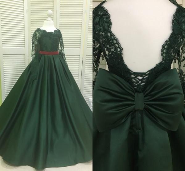 Real Photo princess Dark Green 2019 Cheap Flower Girls Dresses Big Bows V Back Long Sleeves Lace Applique Satin Formal First Communion Dress