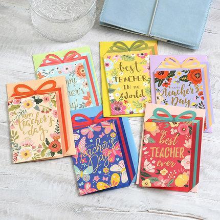 Eno Greeting cartões de mensagem de forma de caixa de presente de dia do professor boa qualidade cartões de flor para professores