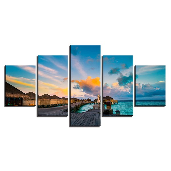 Clouds Blue Sky Wooden Bridge Wall Art Landscape Canvas Painting Simple Life Painting and Home Decoration