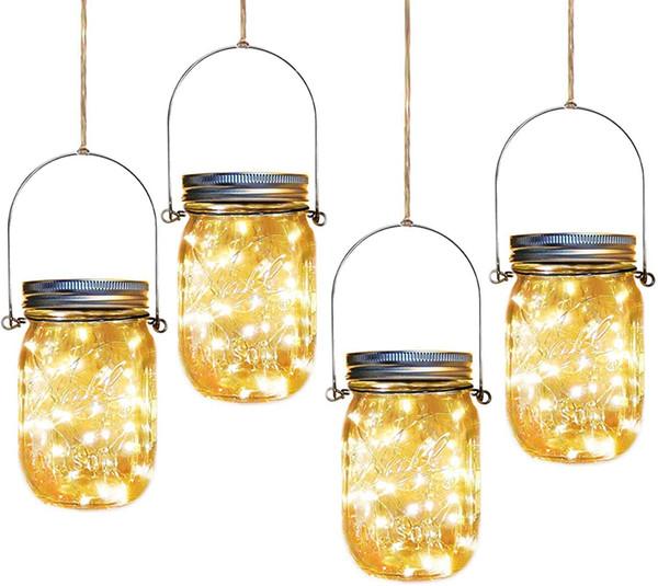 LED solaire Mason Jars Light Up couvercle 10 Guirlande LED Fée étoile Lumières vis Silver Couvercles pour Mason verre Jars Noël