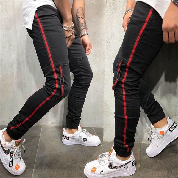 Primavera Verão Jeans Roupa Dos Homens Listras Vermelhas Listras Vermelhas Calças Slim Fit HIhop Harajuku Calças