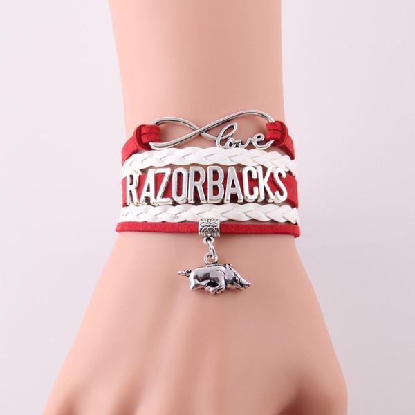 Infinity Love Arkansas Razorbacks bracelet Équipe sportive NCAA football charme corde bracelets bangeles pour femmes hommes bijoux