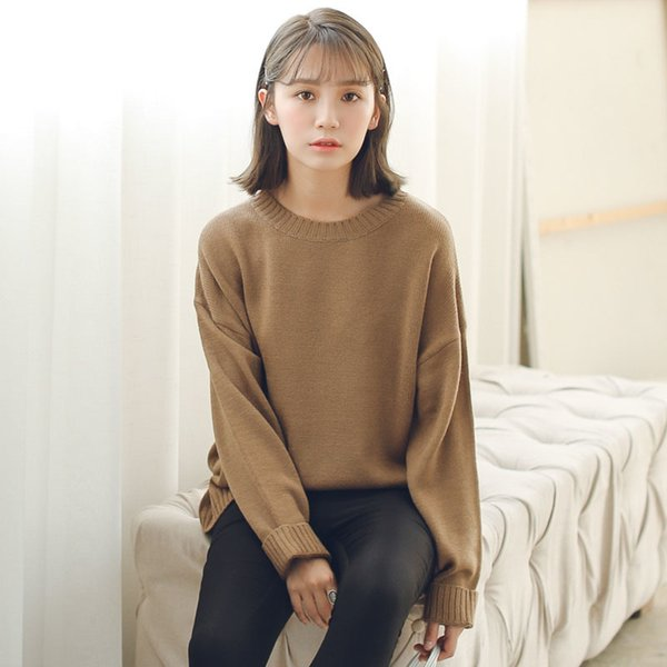Соответствовать всем основным стилем Свободная повседневная мода сплошной O-образным вырезом с длинным рукавом женские свитера прямая поставка хорошее качество