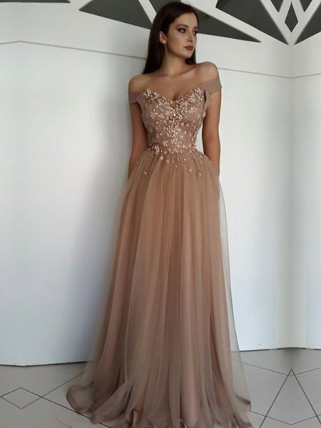 Prom Trends 2020.2020 Hot Sexy A Line Off Shoulder Tulle Lace Prom Dresses Illusion Bodice Sheer Evening Dress Long Formal Party Gowns Sell Prom Dresses Senior Prom