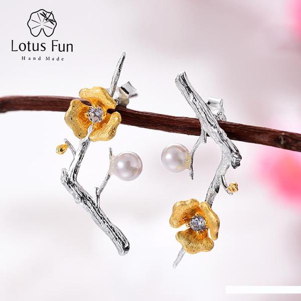 Lotus Fun Real 925 Sterling Silver Handmade Designer Fine Jewelry Delicated Plum Blossom Flower Dangle Earrings For Women SH190715