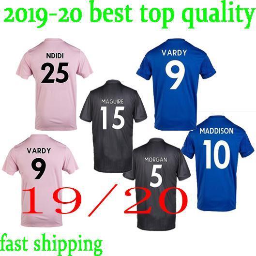 New 2019-2020 Leicester City Black Away Soccer Short Sleeve Jersey Men T-shirt