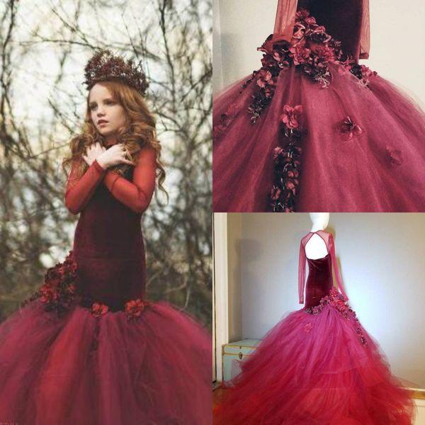 Русалка цветочница платья драгоценный камень шеи 3D цветочные аппликация с длинными рукавами девушки театрализованное платье с открытой спиной рябить на заказ день рождения платья