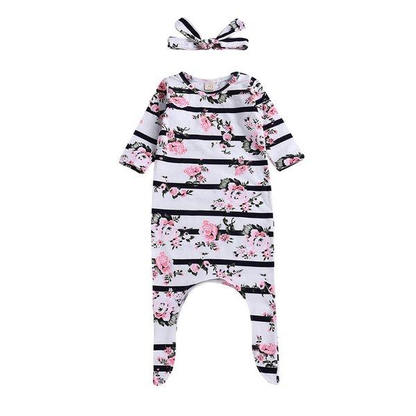 Kaliteli yürüyor BEBEK giyim seti 2 ADET Yürüyor Bebek Bebek Şerit Çiçek Baskı Romper + Bantlar Set Kıyafet ropa recien nacido