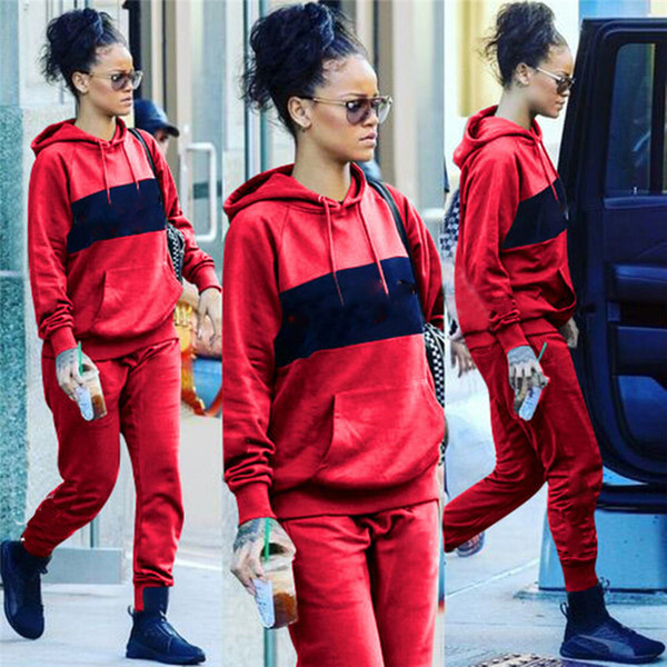 2019 Brand Designer Women Outfits Long Sleeve Hoodie +Leggings 2pcs Set Bodycon Pullover Pants Tracksuit Jogger Tights Luxury Sweatsuit